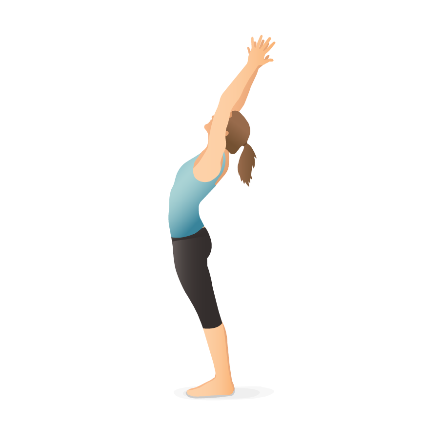 Yoga Pose Mountain With Arms Up And Backbend Pocket Yoga